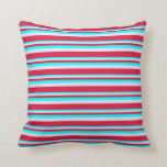 [ Thumbnail: Cyan, Lavender & Crimson Colored Pattern Pillow ]