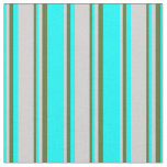 [ Thumbnail: Cyan, Light Gray & Dark Olive Green Colored Lines Fabric ]