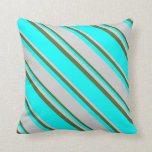 [ Thumbnail: Cyan, Light Gray & Dark Olive Green Colored Lines Throw Pillow ]