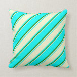 [ Thumbnail: Cyan, Light Yellow, and Green Colored Lines Pillow ]