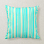 [ Thumbnail: Cyan & Light Yellow Colored Pattern Throw Pillow ]