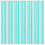 [ Thumbnail: Cyan & Light Yellow Stripes Fabric ]