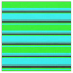 [ Thumbnail: Cyan, Lime, Black, and Light Sea Green Stripes Fabric ]