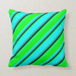 [ Thumbnail: Cyan, Lime, Black, and Light Sea Green Stripes Throw Pillow ]