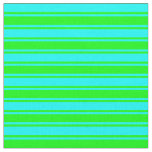 [ Thumbnail: Cyan & Lime Colored Lines Pattern Fabric ]