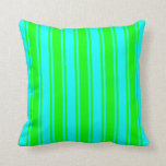 [ Thumbnail: Cyan & Lime Colored Lines Pattern Throw Pillow ]