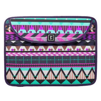 Cyan Magenta Aztec Sleeve For MacBooks