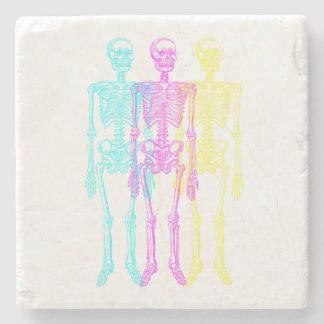 Cyan Magenta Yellow Letterpress Skeletons Stone Coaster