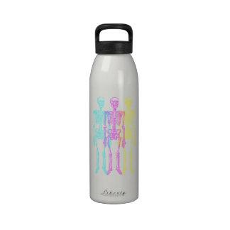 Cyan Magenta Yellow Letterpress Skeletons Reusable Water Bottle