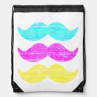 Cyan Magenta Yellow Mustaches (letterpress style) Drawstring Bag