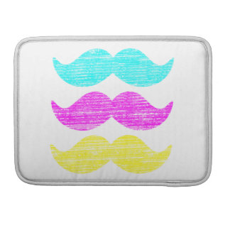 Cyan Magenta Yellow Mustaches (letterpress style) Sleeve For MacBooks