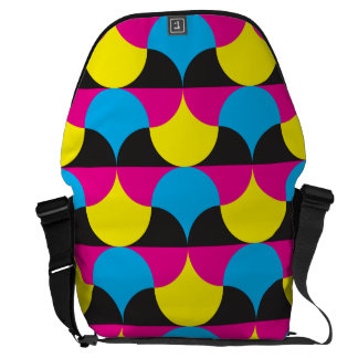 cyan magenta yelow black shapes courier bag