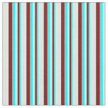 [ Thumbnail: Cyan, Maroon & Light Cyan Pattern of Stripes Fabric ]