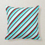 [ Thumbnail: Cyan, Maroon & Light Cyan Pattern of Stripes Throw Pillow ]