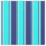 [ Thumbnail: Cyan, Midnight Blue, and Bisque Stripes Fabric ]