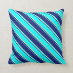 [ Thumbnail: Cyan, Midnight Blue, and Bisque Stripes Pillow ]