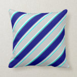 [ Thumbnail: Cyan, Mint Cream, Light Gray, Blue, and Dim Grey Throw Pillow ]
