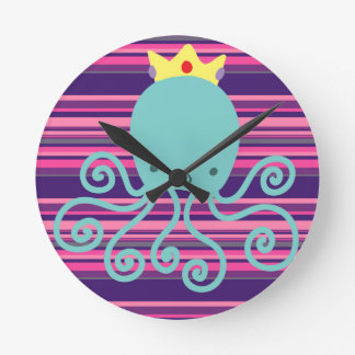 Cyan Octopus Princess Round Clock
