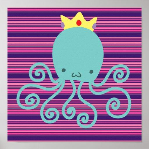 Cyan Octopus Princess Posters