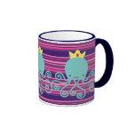 Cyan Octopus Princess Ringer Coffee Mug