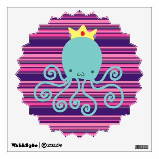 Cyan Octopus Princess Wall Sticker