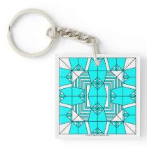 Cyan Owls Key Chain