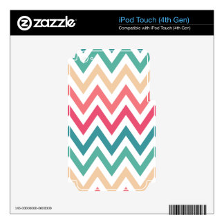 Cyan Peach Reds Geometric Chevron Abstract Pattern Decals For iPod Touch 4G