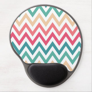 Cyan Peach Reds Geometric Chevron Abstract Pattern Gel Mouse Pad