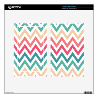 Cyan Peach Reds Geometric Chevron Abstract Pattern Kindle Fire Skins