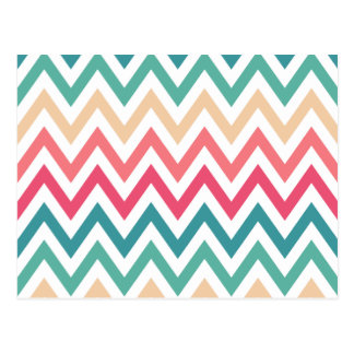 Cyan Peach Reds Geometric Chevron Abstract Pattern Postcard