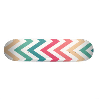 Cyan Peach Reds Geometric Chevron Abstract Pattern Skateboard Deck