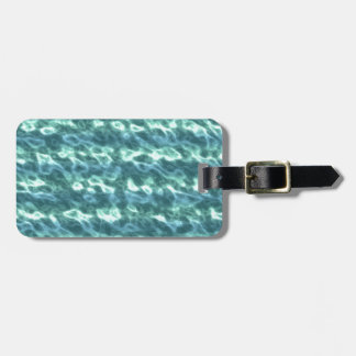 Cyan Pearlescent Pattern. Chic Aquamarine Blue Tags For Luggage
