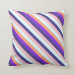[ Thumbnail: Cyan, Pink, Dark Slate Blue, Purple & Salmon Lines Throw Pillow ]