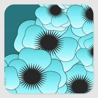 Cyan Poppies Square Sticker