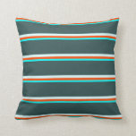 [ Thumbnail: Cyan, Red, Light Cyan, and Dark Slate Gray Lines Throw Pillow ]