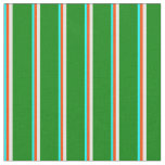 [ Thumbnail: Cyan, Red, Mint Cream & Green Lines Fabric ]
