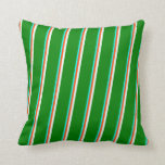 [ Thumbnail: Cyan, Red, Mint Cream & Green Lines Throw Pillow ]