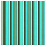 [ Thumbnail: Cyan, Sea Green, Tan, Black, and Green Colored Fabric ]
