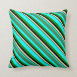 [ Thumbnail: Cyan, Sea Green, Tan, Black, and Green Colored Throw Pillow ]