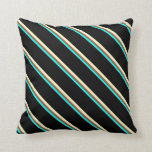 [ Thumbnail: Cyan, Sienna, Light Yellow, and Black Stripes Throw Pillow ]