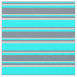 [ Thumbnail: Cyan, Slate Gray, and Light Grey Lined Pattern Fabric ]