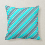 [ Thumbnail: Cyan, Slate Gray, and Light Grey Lined Pattern Throw Pillow ]