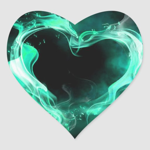 Cyan Smoky Heart Heart Sticker
