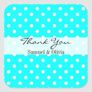 Cyan Square Custom Polka Dotted Thank You Label