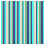[ Thumbnail: Cyan, Tan, Sea Green & Midnight Blue Lines Fabric ]