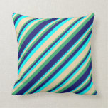 [ Thumbnail: Cyan, Tan, Sea Green & Midnight Blue Lines Pillow ]