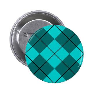 Cyan Teal Blue Argyle Button