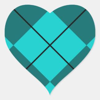 Cyan Teal Blue Argyle Heart Sticker