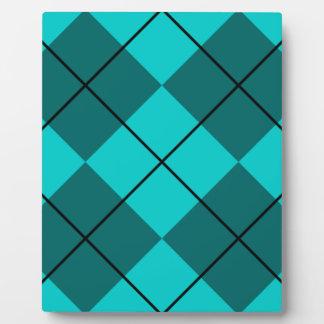 Cyan Teal Blue Argyle Plaque