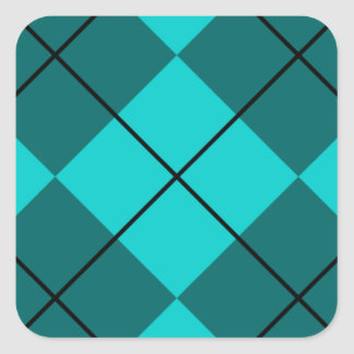 Cyan Teal Blue Argyle Square Stickers